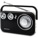 【送料無料】レトロ AM/FMラジオ ブラック RA-601BK