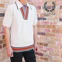 フレッドペリー FRED PERRY ポロシャツ メンズ K5300 【送料無料】(一部地域除く) リイシュー S/S オープンネック ニットシャツ 襟付き ウェア カジュアル 半袖 トップス アパレル ウール スノーホワイト 白 evid