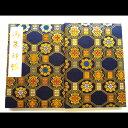京都伏見の御朱印帳 膨らし表紙 上金襴 かわいい 蜀江柄 紺色 Mサイズ16x11センチ 48ページ ビニールカバー付き 鳥の子紙