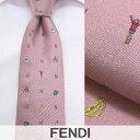 【2018春夏新作】 フェンディ/FENDI メンズ ネクタイ 2TA0QD1 (ピンク) ジャガード織り/結婚式/プレゼント/誕生日/就職/パーティー/バレンタイン/父の日/クリスマス/成人式
