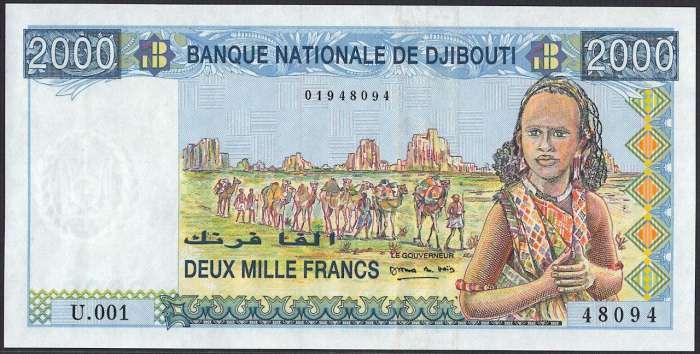 ジブチ 2000 francs 若い女性とラクダ...の商品画像