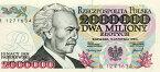 【超レア!!超インフレ紙幣】ポーランド 2,000,000 zlotych 作曲家/第3代首相イグナツィ・パデレフスキ 1993年