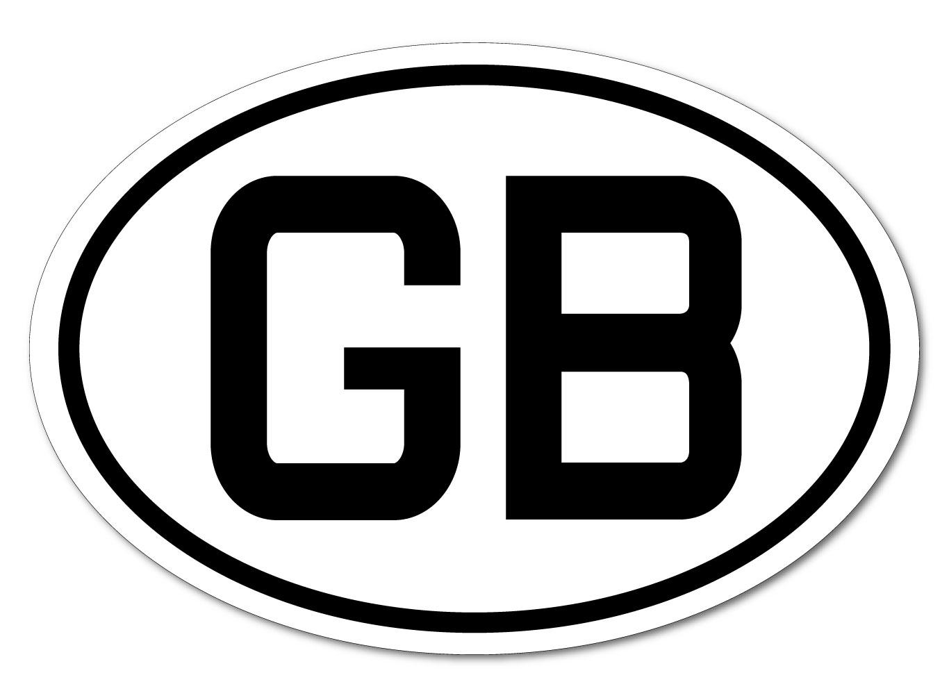 イギリス GB ビークルID・国識別 ステッカー(シール)屋外耐候耐水 Mサイズ 縦8.5cm×横12cm 楕円タイプ B-1 ・Great Britain