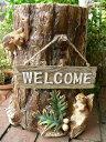 森の仲間たち りすと小鳥の切り株 N7839 ウエルカムボード付き リス オブジェ オーナメント ガーデン ガーデニング 庭