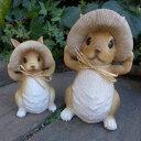 うさぎの置物 きのこウサギ親子2羽セット 968382H ラビット 兎 オーナメント ウサギ ラパンオーナメント きのこ オブジェ ガーデン ガーデニング マスコット 雑貨