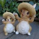 うさぎの置物 麦わらウサギ親子2羽セット 968180H ラビット 兎 ウサギ ラパン オーナメント 麦わら帽子 オブジェ ガーデン ガーデニング マスコット 雑貨
