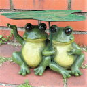 カエルの置物 はすかえる2匹 11270N 動物 置物 玄関 オブジェ ガーデン オーナメント