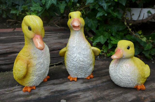 アヒルの置物 あひる3羽セット N12486 鳥 とり トリ オーナメント オブジェ 庭 ガーデン ガーデニング 雑貨 インテリア