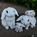 うさぎの置物 たれ耳うさぎの4点セット ホワイト 動物 6022 24HT オーナメント ガーデン オブジェ ガーデニング インテリア 雑貨 ディスプレイ 庭 玄関 ウサギ リアル