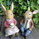 うさぎの置物 うさぎの夫婦 3879-0102 ラビット 兎 オーナメント ウサギ ラパンオーナメント オブジェ ガーデン ガーデニング マスコット リアル ディスプレイ
