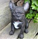 犬の置物 ブルドッグ 黒 7234HT いぬ イヌ 動物 オーナメント ガーデン オブジェ 庭 リアル ガーデニング インテリア 雑貨 マスコット
