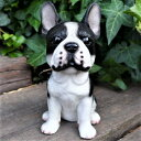 犬の置物 フレンチブルドック 7746HT いぬ イヌ 動物 オーナメント ガーデン オブジェ 庭 雑貨 ガーデニング インテリア マスコット ディスプレィ 陶器 リアル