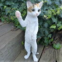 猫の置物 立猫 三毛 MK80QY キャット ガーデンオブジェ CAT 動物 オーナメント ネコ 雑貨 ガーデン オブジェ ガーデニング インテリア マスコット アニマル リアル ディスプレィ ねこ グッズ