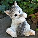 猫の置物 子猫の甘えん坊 サバ白 117QY キャット ガーデンオブジェ CAT 動物 オーナメント ネコ 雑貨 ガーデン オブジェ ガーデニング インテリア マスコット アニマル リアル ディスプレィ ねこ グッズ