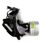 NBC緊急避難用マスクGE150  防毒ガスマスク サリン対応 フルーフェイスタイプ フェルター付き 放射性粉じん/ウイルス/細菌/催涙ガス 緊急避難 用
