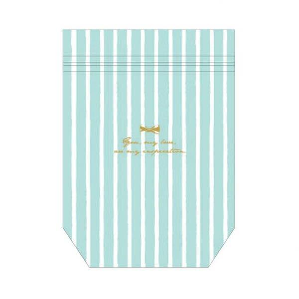 マチ付きジッパーバッグ ワールドクラフト ZIP-POCKET M mint stripe