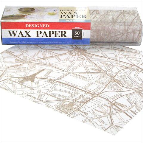 ワックスペーパー Season シーズン デザインWAXペーパー オールドパリマップ(ベージュ) PG-92V スタンダードサイズ(21.8×25cm)2パックセット(50枚入り×2箱)