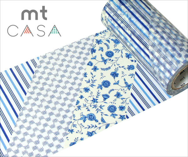 在庫限り!マスキングテープ 幅広 mt カモ井加工紙 mt CASA テープ Flower dark blue R(100mmx10m)MTCA1040