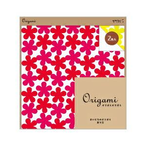 midori ミドリOrigami オリガミオリガミ 15cm角 花柄 赤・黄(2色入り)