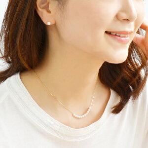 K18/K18WGベビーパール11粒スルーネックレス〜Smiley〜あこや真珠ホワイト系3.5-4.0mmBBB