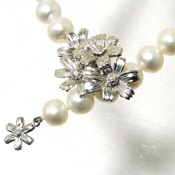 「コスモスモチーフ マグネットクラスプ(silver)《真珠4〜10mm対応》」(真珠用)[n5]