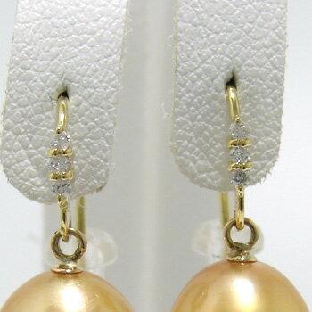 「3石ダイヤが煌くピアス金具(K18)」(真珠用)[n6]