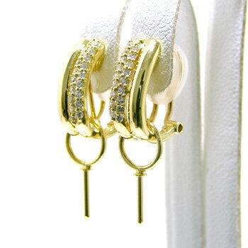 「2本のエレガントなラインが美しいダイヤイヤリングピアス金具(K18)」[n5] 耳元をエレガントにそして上品に【真珠】【パール】