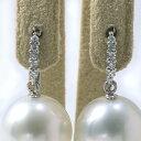 ダイヤ5石が輝く フックピアス金具 K18WG ホワイトゴールド 0.05ct×2 [n5](真珠用 パール セミオーダー 加工 パーツ)