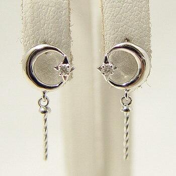「月と星のピアス金具(K14WG)」(真珠用)[n5]  【真珠】【パール】