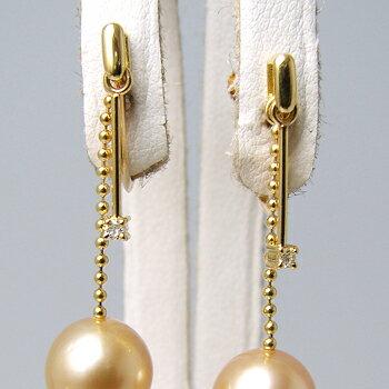 「ゴールドチェーンとダイヤが揺れるイヤリング金具(K18)」(真珠用)[n5]  シャープな雰囲気が素敵【真珠】【パール】☆装飾☆