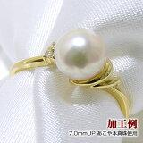 「ダイヤ付きダブルラインリング枠(指輪金具)(K18)」(真珠用)