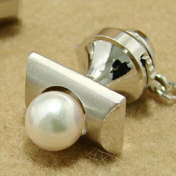 「あこや本真珠 パールネクタイピン(タイタック・ラペルピン)・カフス(カフリンクス)セット ホワイト/グリーン系 7.0-7.5mm BBB silver」[メンズジュエリー][父の日][メンズ][n5] 父の日のプレゼントにもオススメえらい