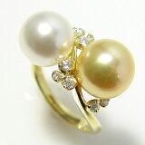 贅沢に真珠2つ使い!「南洋白蝶真珠を2つ使ったダイヤモンドパールリング」(本真珠・南洋真珠)【楽ギフ包装選択】