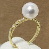 [6種のクーポンでさらにお得!]「あこや真珠 リング(指輪) ホワイト系 8.0-8.5mm BBB」K18 ゴールド(パールリング )【楽ギフ包装選択】[n5]