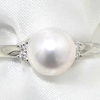 「あこや本真珠 パールリング(指輪) ホワイト系 8.0-8.5mm BBB  Pt900」 プラチナ[n5](冠婚葬祭 フォーマル 入学式 卒業式 成人式) 飽きのこないシンプルデザインのあこや真珠リング[指輪]