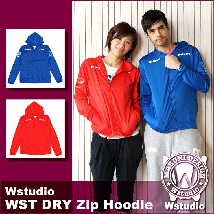 【送料無料】Wstudio☆ダブルスタジオ☆【全2色×4サイズ】WST DRY Zip Hoodie(ドライ素材使用パーカー)☆