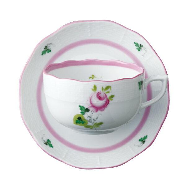 ヘレンド ティーカップ&ソーサー HEREND ウイーンの薔薇 ピンク #724 【お取り寄せ】