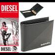ディーゼル DIESEL 財布 二つ折り 本革 X03099 P0519 H3800 ブラックグレー