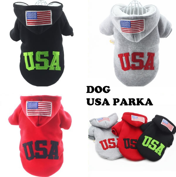 犬 服 犬服 USA ワッペン パーカー カジュ...の商品画像