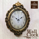 【ポイント5倍 1月】 【Y-KAGU直輸入】ウォールクロック(壁時計) ゴールド(オーバル)