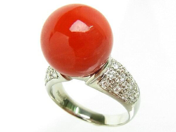 【質屋出品】【】【程度A】プラチナ Pt900 サンゴ 珊瑚ダイヤモンド 0.27ct 【送料無料】【手数料無料】