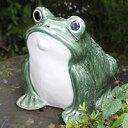 信楽焼カエル君(緑色)!縁起物カエル/お庭に玄関先に陶器蛙!やきもの/陶器/しがらきやき/蛙/陶器か