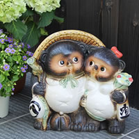 No. 10 couples raccoon! Shigaraki-yaki raccoon! And luck raccoon / pottery Tanuki and raccoon dog figurines / pottery / while big Shine / pottery / Pom / raccoon / Shigaraki / Pom / アベックタヌキ [ta-0012]