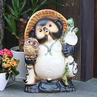 No. 13 Brown OWL with racoon! Shigaraki-yaki raccoon! And luck raccoon / pottery Tanuki and raccoon dog figurines / pottery / while big Shine / pottery / Tanuki raccoon Shigar