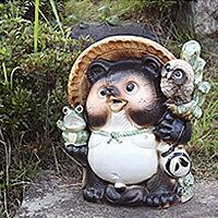 フクロウと蛙を持った縁起の良い陶器タヌキ!信楽焼き満願成就たぬきオークション!福を呼ぶ陶器の狸です。