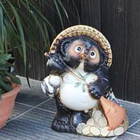 信楽焼 9号福熊手タヌキ 信楽焼たぬき 縁起物のタヌキ 陶器タヌキ たぬき置物 やきもの しがらきやき 焼き物 狸 タヌキ 信楽 狸 熊手狸 ta-0003