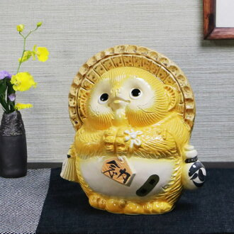 Wind water Asian racoon (yellow), fortune, social luck to the blessings and! / Luck / Shin Raku Tanuki Tanuki pottery Pom / raccoon figurine / or kimono / pottery / Tanuki / wind sennosuke sanuki