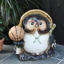 【送料無料】9号バスケットボール持ち狸!信楽焼たぬき縁起物タヌキ/陶器タヌキ/たぬき置物/やきもの/