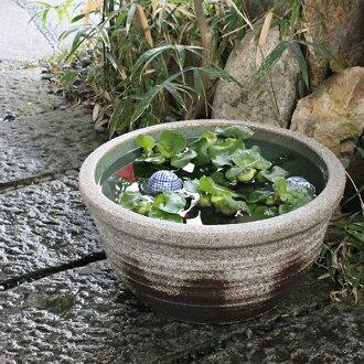 13, Ash glaze Shin raku pottery water bowls! Shin Raku suiren pots! Ideal for fish bowls, fish bowl! Water lilies pots / pottery water lily pot / Lotus pots / already pot / medaka pots / pots / pottery / water coupled pots / water bowl / water lilies pot