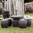 【送料無料】20号信楽焼ガーデンテーブル/陶器テーブル/焼き物/お庭、ベランダ用庭園セット/ガーデンテーブルセット/陶器/イス/信楽焼テーブル/ガーデンセット/屋外用[te-0032]P01Jul16